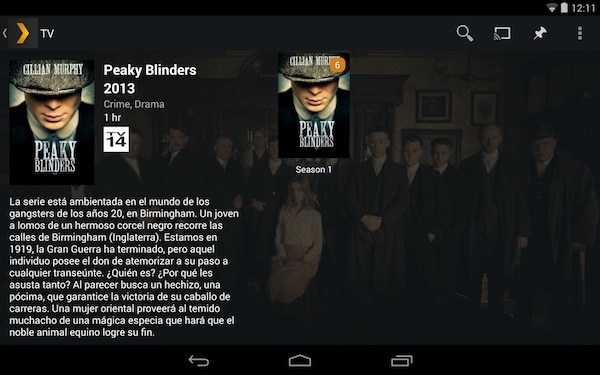 Descripción y resumen de series en Android.